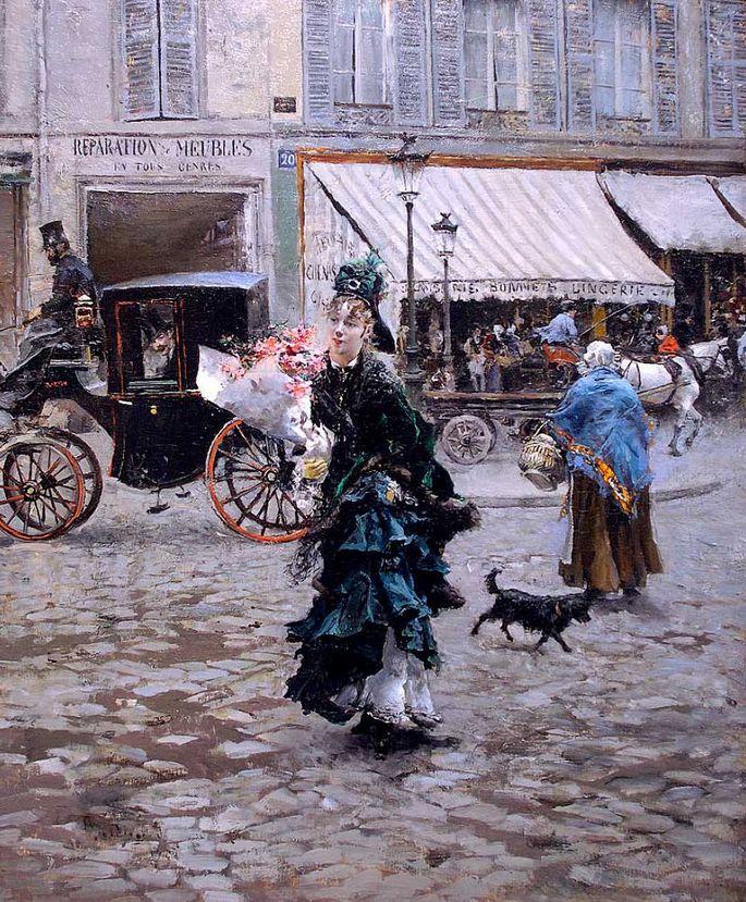 Traversée de la rue (1875) by Giovanni BOLDINI