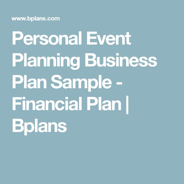 Personal Event Planning Business Plan Sample  Financial Plan