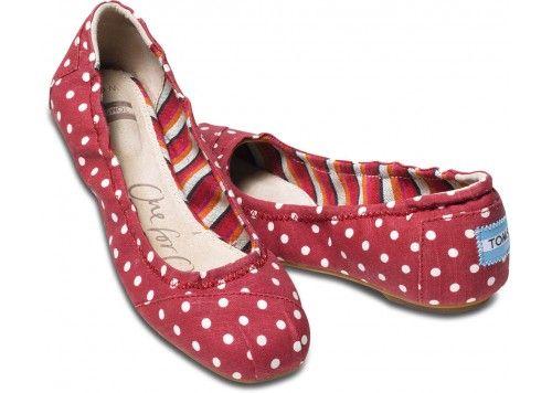 Red Polka Dot Linen Ballet Flats