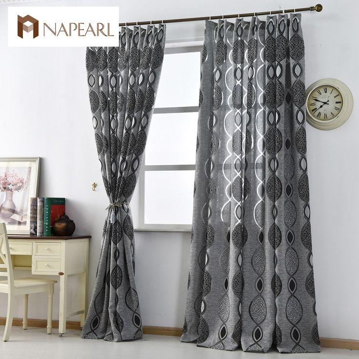 Moderna tenda della decorazione della casa soggiorno tende finestra tessuto nero pronto trattamenti di finestra tenda di lusso di marca di nuovo modo