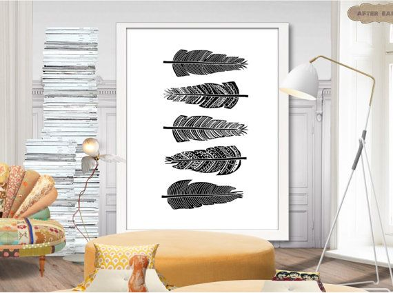 Feather art print. Digital poster. Printable art. by AfterEarth