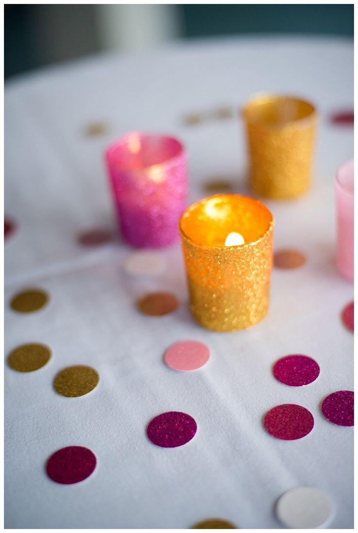 Glitter votive holders glitter candle holders - glitter decor - glitter party favors - custom glitter wedding decor- buy 5 get 6th free