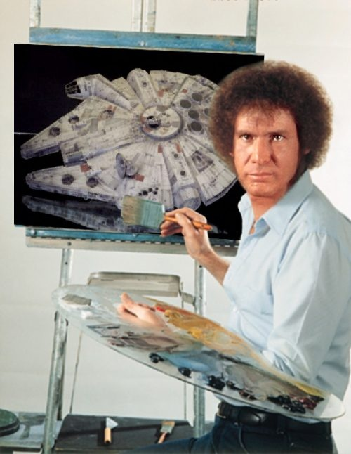 And we will put a happy little Tie Fighter right here.: Bobs Ross, Harrison Ford, Bob Ross, Millennium Falcons, Stars War, Labs Coats, Hans Solo,  Laboratory Coats, Starwars