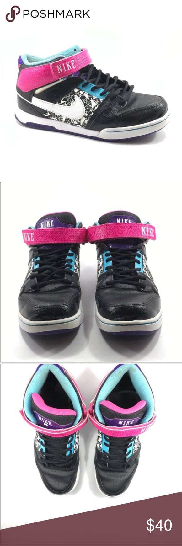 Nike Women's Air Morgan Mid 2 (size 8.5) *Mid-top shoe. * Suede and leather upper. * Cupsole construction. * Padded tongue and collar. * hook and loop fastener strap. * Purple Nike Swoosh. * Combo drop-in midsole and sock-liner. * Perforated toe. * Injected Pylon midsole. * Nike rubber outsole. * Imported. Nike Shoes Athletic Shoes