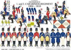 プレート208:帝国フランス:第1、第2 Carabinier連隊1804年から1810年