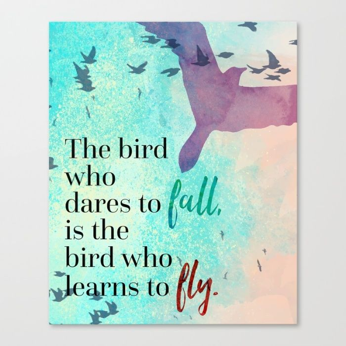 Learn To Fly Quote Canvas Print by The Daily Quotes