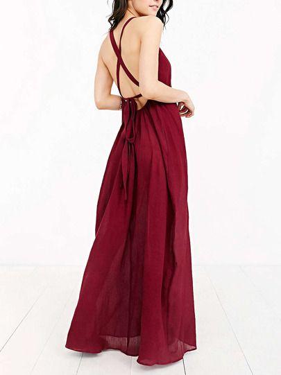 Vestito con spalline incrociate dietro color vinaccia