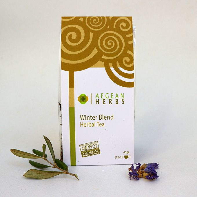 Winter's Blend Herbal Tea, 45 gr. (12-15 cups)  A herbal blend of sage, mallow, st. John's wort, and olive leaves helps  you through the cold season!  It works as a tonic for the whole organism and supports...