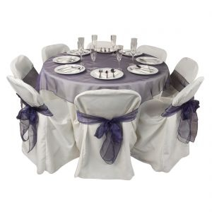 Square Organza Overlay On Round Table Cloth And Organza Chair Sashes    Purple U0026 Ivory