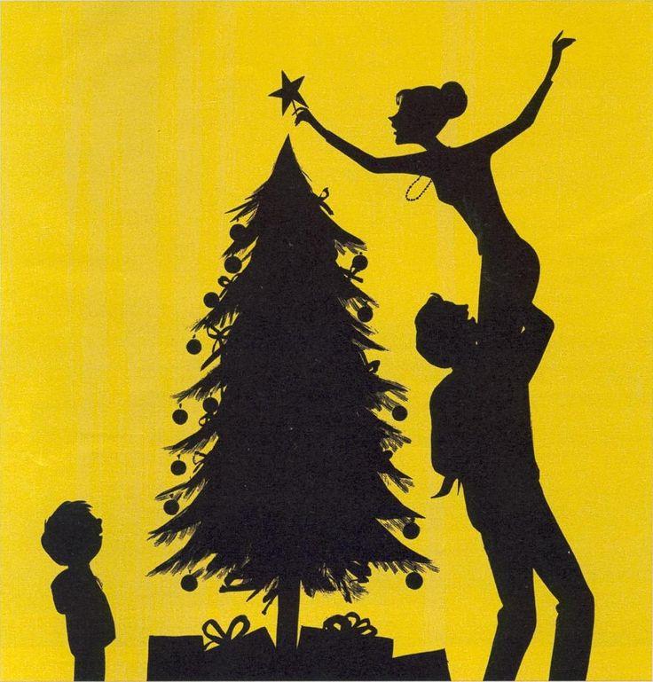 Jordi Labanda - decorating the Christmas tree silhouette card