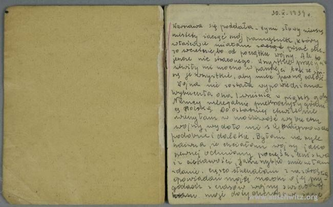 The original diary, written during the war in occupied Warsaw by sixteen-year-old Anna Hinel, was given to the Museum Archives. The author perished in the Nazi German concentration camp and extermination camp of Auschwitz 70 years ago on 19 March 1943. She was 19 years old at the time.  More: http://en.auschwitz.org/m/index.php?option=com_content&task=view&id=1092&Itemid=7