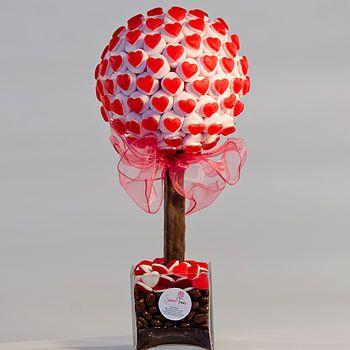 Strawberry Heart Marshmallow Sweet Tree - like those heart sweets by Haribo but made into a teeny tree :3