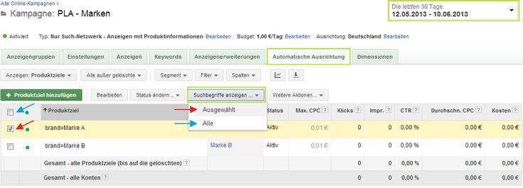"""Auswertung der original Suchphrasen bei PLAs (Product Listing Ads) im Goolge AdWords Interface, hier über den Tab """"Automatische Ausrichtung"""""""