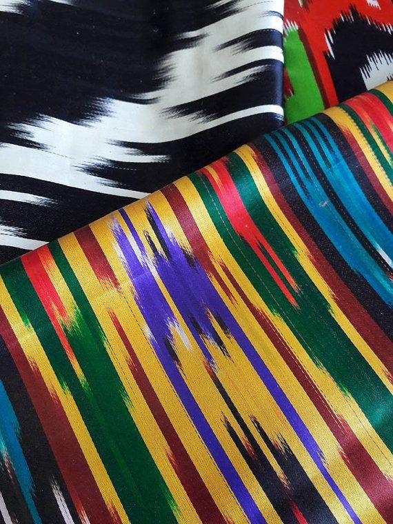 Uzbek handmade 100% silk vintage ikat fabric by SuzaniUzbekistan