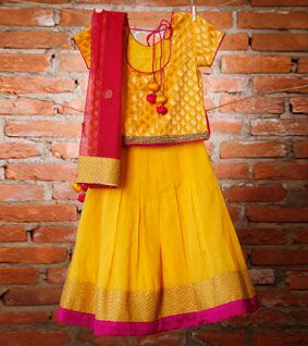 Yellow and Pink Chanderi and Brocade Lehenga Set