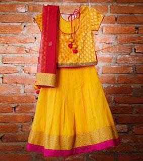 Yellow and Pink Chanderi and Brocade Lehenga Set