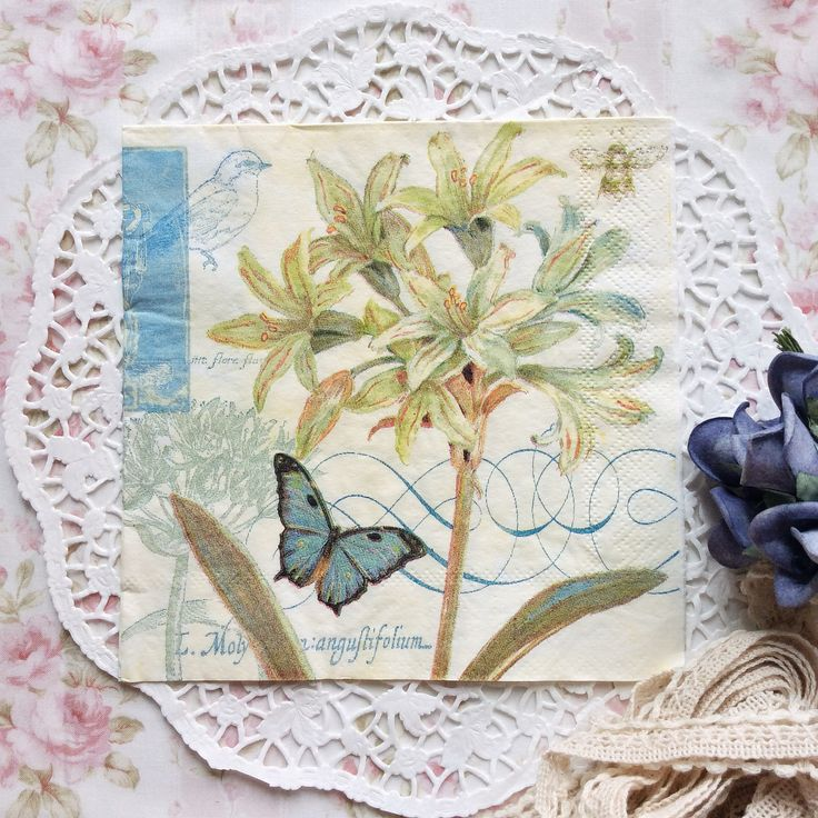 Napkin Papers Serviettens Decoupage Tissue  Deyess Lilies and Butterfly 33x33 cm (1/4 folded)  IDR 15.000/pc Send me your inquiry to yufihandcrafted@gmail.com   Shabby Chic Victorian Cottage Vintage Retro Rose Floral Flower Paper Napkins   And get a special discount on bulk order!