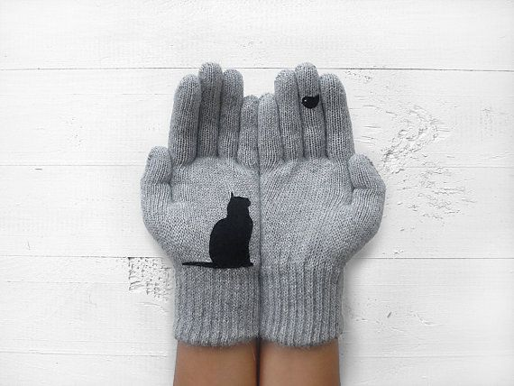 CHRISTMAS, HOLIDAY GIFT, Cat Gloves, Cats, Birds, Pet Lovers, Grey Gloves, Xmas Gift Idea, Winter Gift, Gift For Her, Animals, Cat Lovers