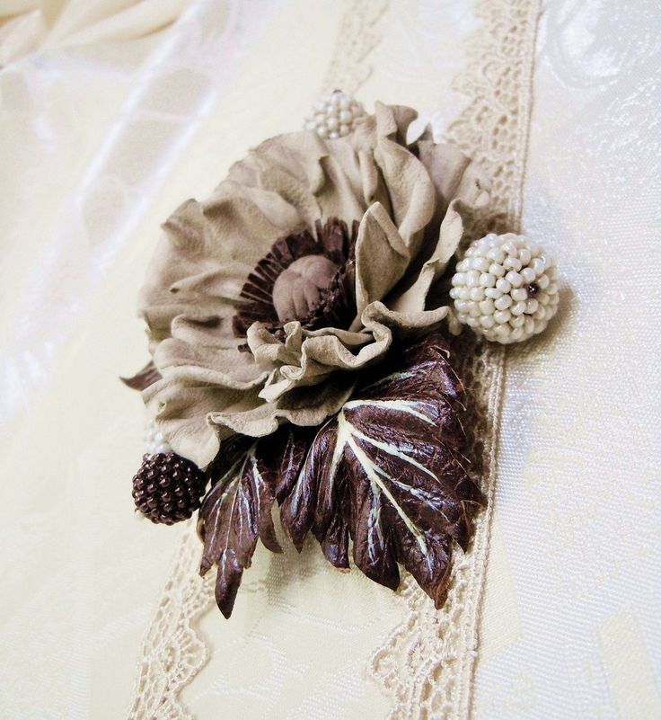 Poppy flower brooch Leather flowers Leather brooch Leather jewelry Gift for her Christmas present Grey poppy flower Beige flower corsage by SummerInYourHome on Etsy