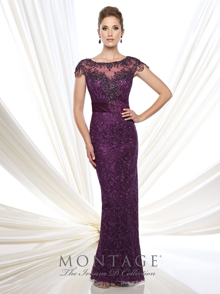 Ivonne D Exclusively for Mon Cheri - 113D00 -Venise lace and satin sheath with scalloped cap sleeves, intricate hand-beaded illusion bateau neckline and open back bodice, sweetheart bodice with pleated satin empire waistband.Sizes: 4 – 20Colors: Blush, Purple, Black, Navy Blue