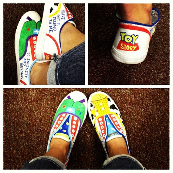 custom toy story shoes by OnceUponATimeShoes on Etsy, $40.00