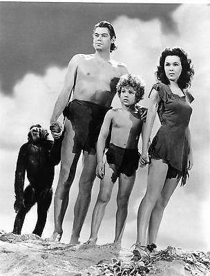 RARE STILL JOHNNY WEISMULLER WITH CAST FROM TARZAN