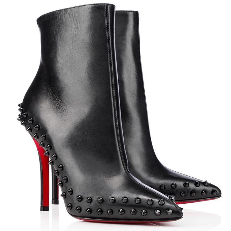 Christian Louboutin Willetta Spikes 100mm Lederen Enkellaars Zwart