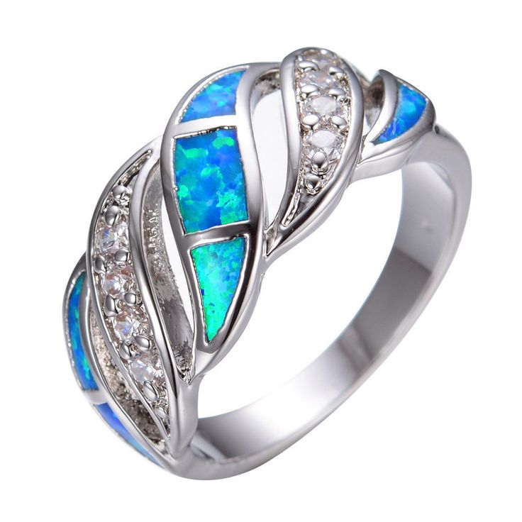 Size 6-10 Blue Fire Opal & CZ Engagement Ring Silver Plated Women's Wedding Band #Handmade #Band…