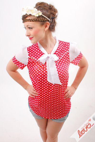 """Schleifen-Bluse """"Lori"""" - Rot Punkte, Chiffon von mydearlove® - shop auf DaWanda.com"""