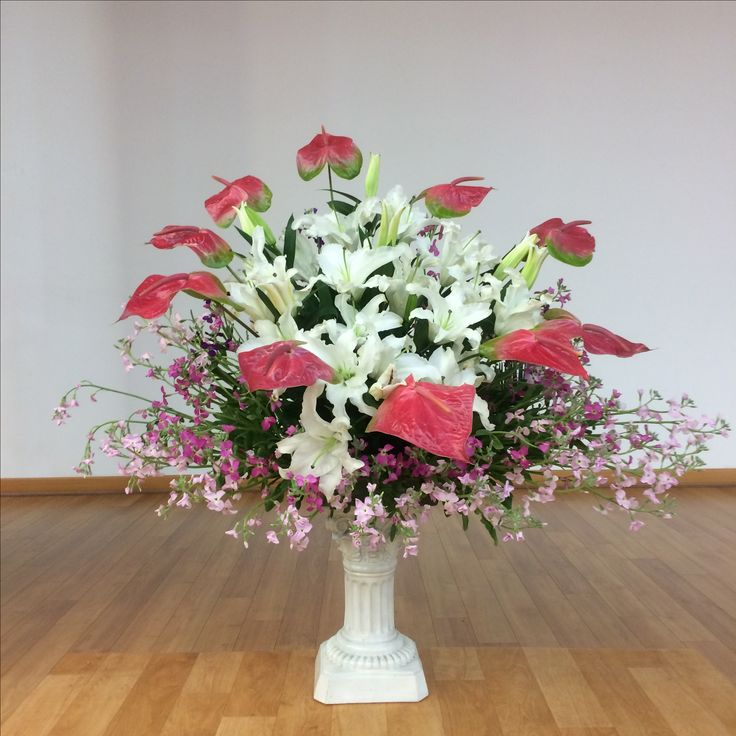 2017.1.29. This week's church flower decoration. White lily, pink and magenta color flower, and other plant.