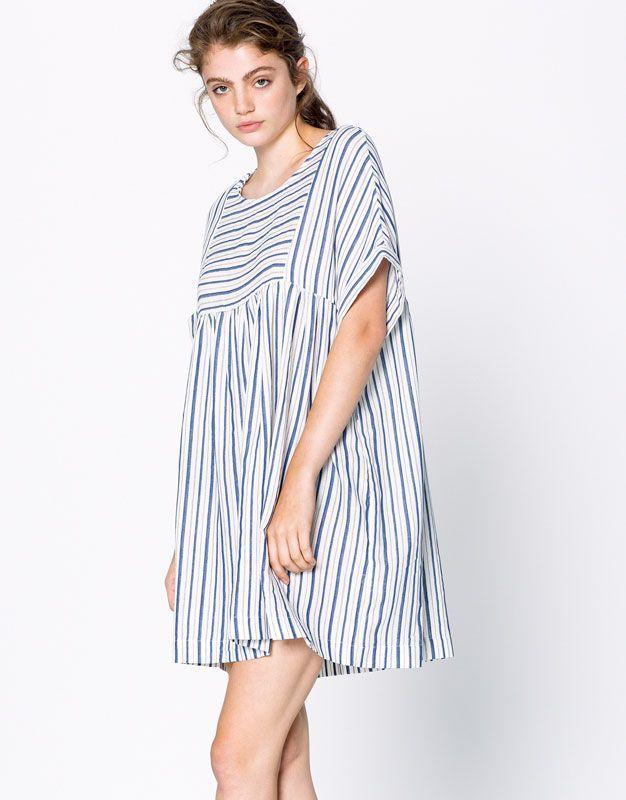 SHORT-SLEEVE STRIPED DRESS - DRESSES - WOMAN - PULL&BEAR United Kingdom