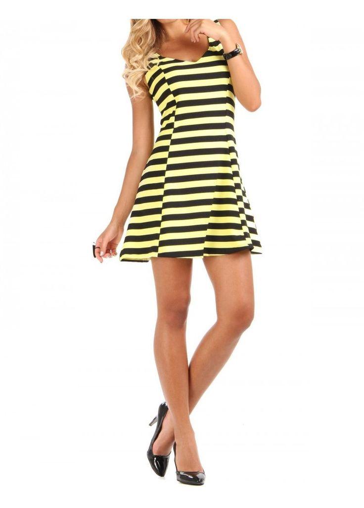 Desenli Elbise - Sarı-Siyah