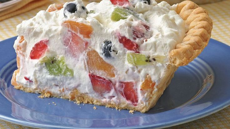 Whipped cream, a little sweetener and fruit!  What an easy and delicious pie!  Watch us make and taste this recipe at 3:16 into this program: https://www.youtube.com/watch?v=GxFll0ujn9g
