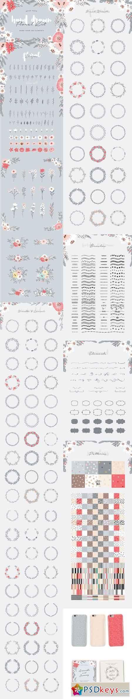Hand Drawn Floral Kit 747754