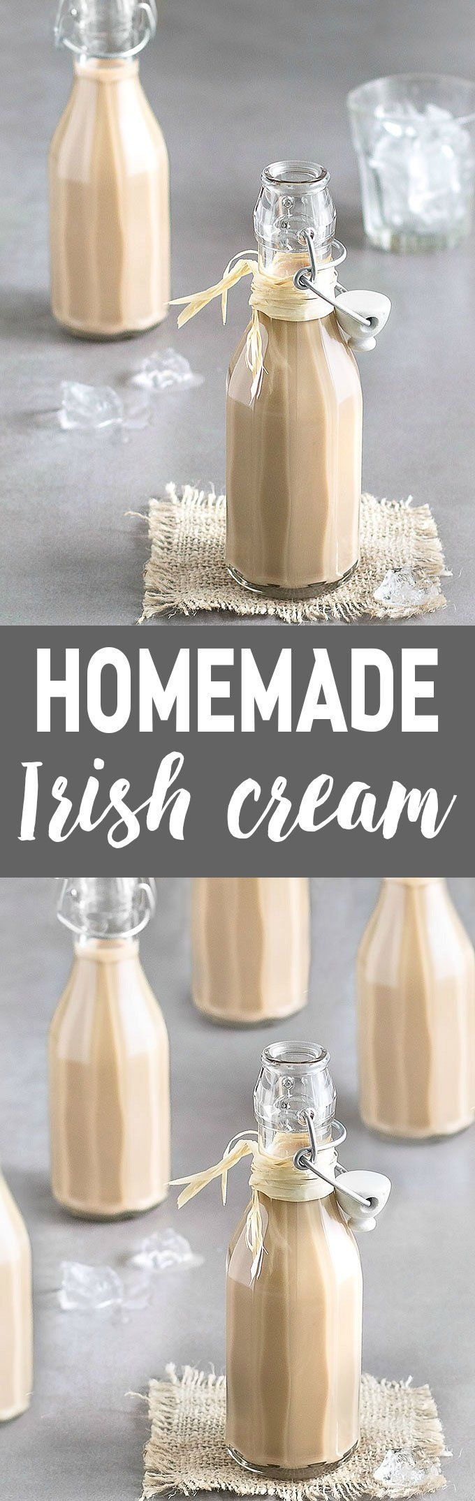 Learn how to make homemade Baileys Irish Cream with this quick and simple recipe. It's rich, creamy and velvety smooth! #baileys #irishcream #stpatrick #homemade #easyrecipe #diyfoodgift #drink | aseasyasapplepie.com