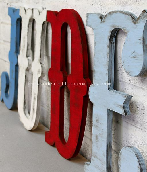 Carnival / Circus Large Vintage Style Wooden Letters, 50 cm tall, painted mid blue, white, red, and pale blue