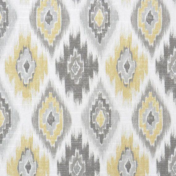 Grey Yellow Ikat Upholstery Fabric - Yellow Ikat Cotton Curtain Material - Grey White Ikat Home Decor Throw Pillow - Ikat Roman Shade Fabric