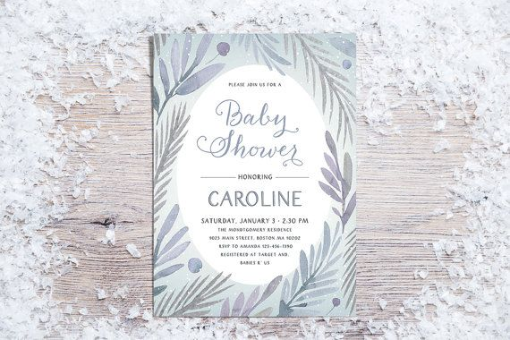 Printable Baby Shower Invitation Winter Baby Shower