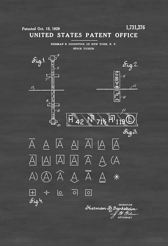 Stock Ticker Patent 1929 Patent Prints Stock Ticker Patent