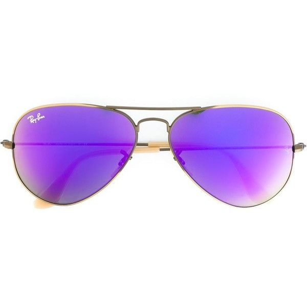 Ray-Ban Aviator Frame Sunglasses ($179) ❤ liked on Polyvore featuring accessories, eyewear, sunglasses, glasses, green aviator sunglasses, ray ban aviator, tinted sunglasses, green lens aviators and purple sunglasses