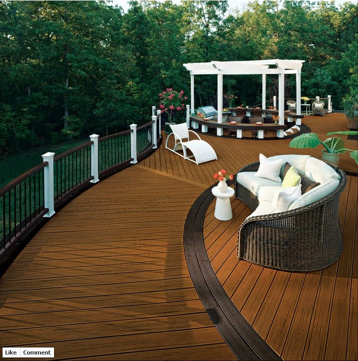 TrexPro Platinum Holloway Company in Sterling, Va. built this beautiful deck which we used for our national advertising campaign.  We love the curved Transcend decking, the Pergola and two-toned railing! Click on the image to visit the contractor's website.