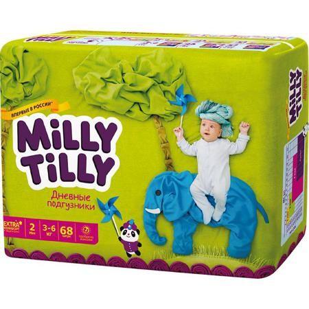 Подгузники Milly Tilly Mini 2 (3-6 кг), 68 шт  — 1010р. -------- Дневные подгузники Milly Tilly - оптимальный выбор современной заботливой мамы, для которой на первом месте стоит здоровье малыша. Структура верхнего слоя в виде сот обеспечивает свободную циркуляцию воздуха внутри подгузника, позволяя коже младенца дышать. Благодаря двум эластичным пояскам, Milly Tilly прилегают к телу и не стесняют движений малыша. Нежные оборочки с тремя резинками предотвращают раздражение от натирания…