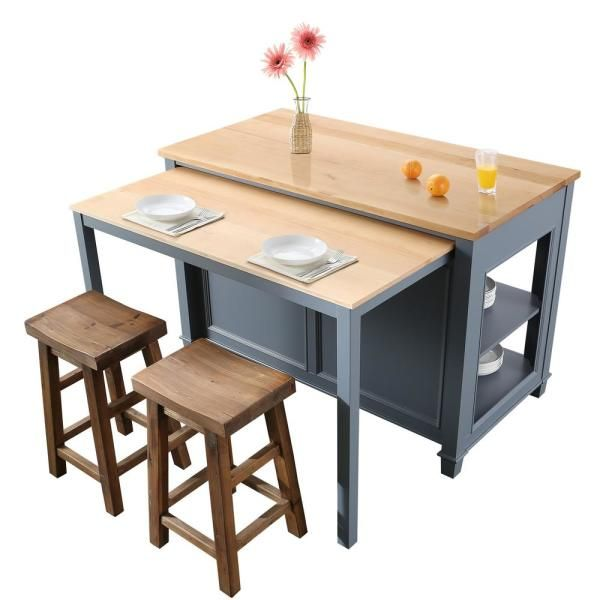 Design Element Medley Gray Kitchen Island With Slide Out Table Kd 01 Gy The Home Depot Ikea Kitchen Island Kitchen Island Table Grey Kitchen Island