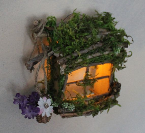 Fairy Window with Basket of Flowers and Light Handcrafted by