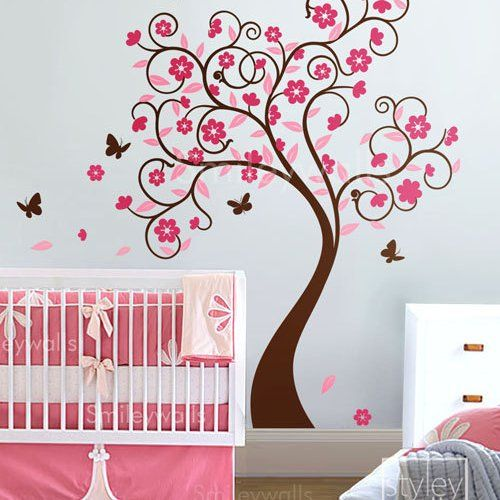 Curly Flower Tree with Butterflies - Nursery Vinyl Wall Decal | Styleywalls - Housewares on ArtFire