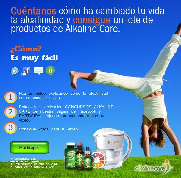 Participa en el concurso de vídeo y consigue 1 de los 6 lotes de productos alcalinos.  Más info en:  http://blog.alkalinecare.com/2014/11/18/participa-en-el-concurso-de-video-y-consigue-1-de-los-6-lotes-de-productos-alcalinos/