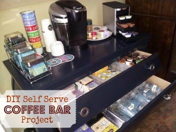 DIY Self Serve Coffee Bar Storage #organization. #teacherlistsmakeover