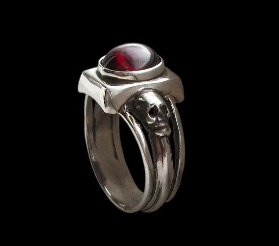 925 Solid Sterling Silver Dark Gothic Skull Ring with Red Garnet - Love to Death Ring -  ALL SIZES