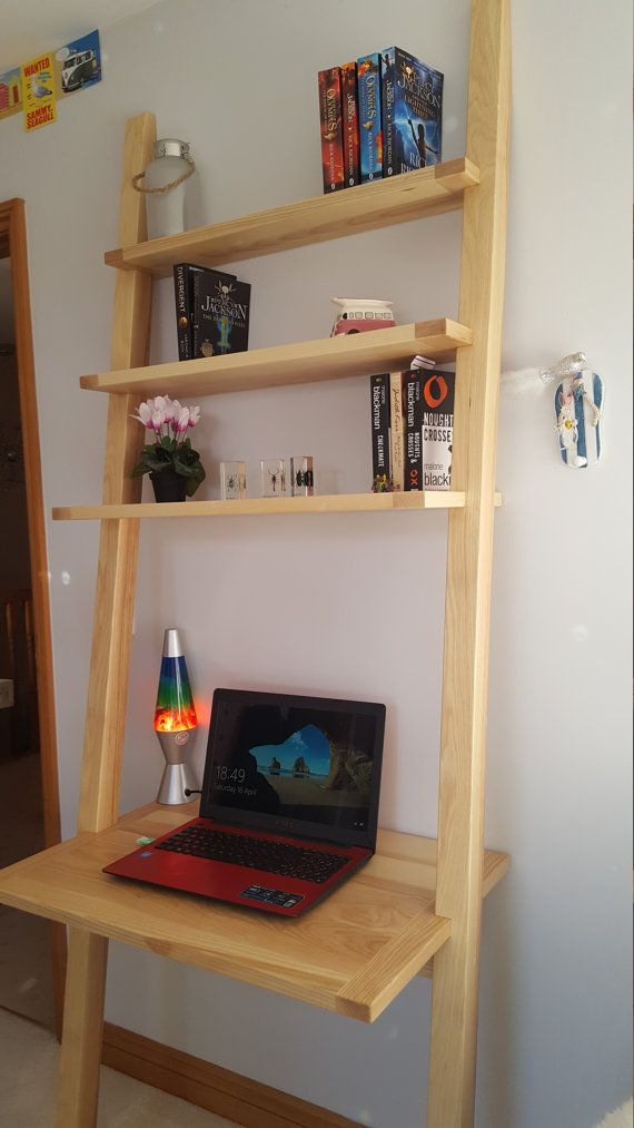 ladder desk shelves by Bespokeperfection on Etsy