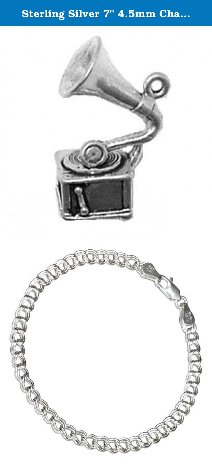 """Sterling Silver 7"""" 4.5mm Charm Bracelet With Attached 3D Old Vintage Fashion Phonograph Record Player Charm. Sterling Silver 7"""" 4.5mm Italian Made Charm Bracelet With Attached 3D Old Vintage Fashion Phonograph Record Player Charm. Great Charm For Anyone Who Collects Antiques Or Who Old Record Players. Material: .925 Sterling Silver Dimensions: 3D Hollow Bottom Charm Height: 8/8"""" Length: 5/8"""" Width (Thickness): 3/8"""" Units Sold By: Single SKU#: A37888T-BR452 Charm Made In: United States All..."""
